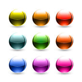 Colored glowing metallic balls with black shadow on white background — Stock Vector
