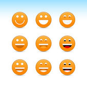 Orange smiling face web 2.0 button with gray shadow on white background — Stock Vector
