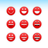Red smiling face web 2.0 button with gray shadow on white background — Stock Vector