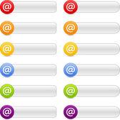 12 botão na web de sinal de cor 2,0 painéis de navegação com sombra branca — Vetor de Stock