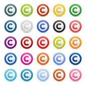 Colored matted round buttons with copyright symbol on white — Stock Vector