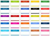 Kolorowe nazwy tagu naklejki ustawić cień biały — Wektor stockowy