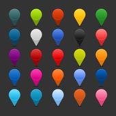25 mappning stift ikonen web 2.0 knappar. färgade satined runda former med skugga på grå — Stockvektor