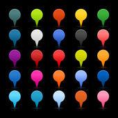 25 cartographie des boutons épingles icône web 2.0. couleurs satinée ou formes rondes avec réflexion sur fond noir — Vecteur