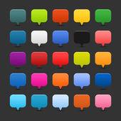25 цветного картирования булавки кнопки веб 2.0. Сатинированная гладкой квадратной формы с тенью на сером фоне — Cтоковый вектор