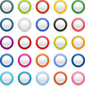 Matted colored ring web buttons and shadow on white — Stock Vector