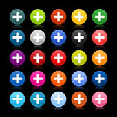 25 satined web 2.0 button with plus sign. Colored round shape with reflection on black background — Stock Vector