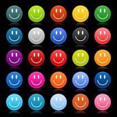 Matted colored smiley faces on black background — Stock Vector