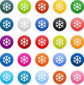 25 color satin button with snowflake sign. Round shape with gray drop shadow on white background — Stock Vector