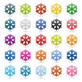 Colored satin smooth snowflake with drop gray shadow on white background — Stock Vector