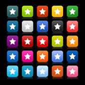Satined web 2.0 button with star sign on black background. Colorful rounded square shapes with reflection. — Stock Vector
