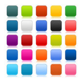 Colored matted blank rounded squares buttons with shadow on white — Stock Vector