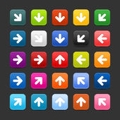25 smooth satined web 2.0 button with arrow sign. Colorful rounded square shapes with shadow on gray background — Stock Vector
