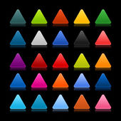 25 colored blank triangle web 2.0 button. Smooth satined shapes with reflection and shadow on black background — Stock Vector