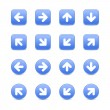 Blue round and square colored web button arrow set on white - Stok Vektör