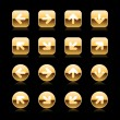 Luxury metal gold round and square web button arrow set on white - Stok Vektör
