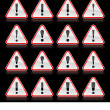 Red warning attention sign with exclamation mark. Rounded triangle shape with color reflection on black background. 10 eps — Stock Vector