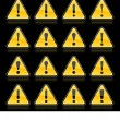 Attention warning sign with exclamation mark symbol. Yellow rounded triangle shape with color reflection on black background. This vector illustration saved in 10 eps — Stock Vector