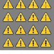 Yellow hazard warning attention sign with exclamation mark. Rounded triangle shape with color reflection on gray background. 10 eps — Stock Vector
