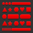 Royalty-Free Stock Vector Image: Red blank various forms web 2.0 buttons with black reflection on gray background
