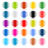 Glossy color round web buttons on white background — Stock Vector
