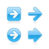 4 glossy arrow sign web 2.0 stickers. Blue button with gray shadow on white. 10 eps — Stock Vector