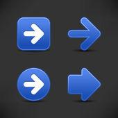 символ стрелки кнопки веб 2.0 4 кобальта. гладкая атласная формы с отражением на черном фоне. — Cтоковый вектор