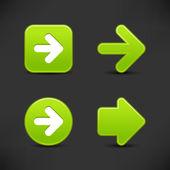 4 verde web 2,0 segno di freccia pulsante. raso liscio forme con riflessione su sfondo nero. — Vettoriale Stock