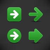 4 绿色的 web 2.0 按钮箭头标志。缎面光滑用反射在黑色背景上的形状. — 图库矢量图片