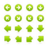 Grüne verfilzten Web-Taste Pfeil setzen auf weiß — Stockvektor