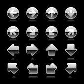 设置在白色的豪华金属银圆和正方形 web 按钮箭头 — 图库矢量图片