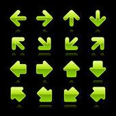 сатинированная зеленая стрелка знак web 2.0 кнопка с отражением на черном фоне — Cтоковый вектор