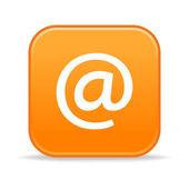 乱蓬蓬的橙色圆角的正方形按钮与 arrobase 和白色的思考 — 图库矢量图片