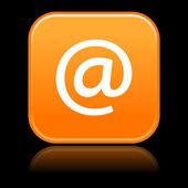 用 arrobase 符号在黑色乱蓬蓬的橙色圆角的正方形按钮 — 图库矢量图片
