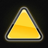Glossy blank yellow warning sign with glow on black striped background — Stock Vector