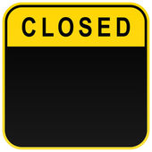 Black closed blank caution sign on white — Stock Vector