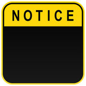 Black warning blank notice sign on white — Stock Vector