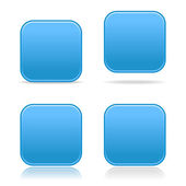 4 Matted blue satin blank rounded squares buttons with drop shadow on white background — Stock Vector