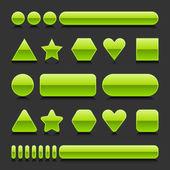 Zielony puste web 2.0 geometryczny kształt przycisk błyszczący różnych postaci z czarnym odbicie na szarym tle — Wektor stockowy