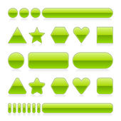 Blank web 2.0 glossy buttons with reflection. Green various forms on white background — Stock Vector