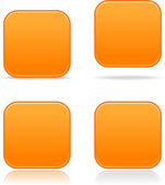 Orange blank satin rounded squares buttons on white — Stock Vector