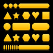 Yellow empty various forms web 2.0 buttons with reflection on black background — Imagen vectorial