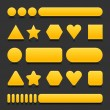 Yellow blank various forms web 2.0 buttons with black reflection on gray background — Imagen vectorial