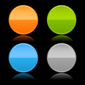 Round blank matted color buttons on black — Stock Vector