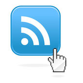 RSS internet web button with cursor hand. blue rounded square shape with shadow. White background — Stock Vector