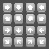 Gray glossy web button with white arrow sign. Rounded square shape internet icon with shadow and reflection on dark grey background. This vector illustration saved in 8 eps — Stock Vector