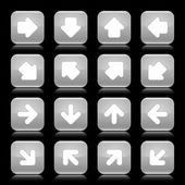 Gray glossy web button with white arrow sign. Rounded square shape internet icon with reflection on black background. This vector illustration saved in 8 eps — Stock Vector