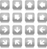 Gray glossy web button with white arrow sign. Rounded square shape internet icon with shadow and reflection on white background. This vector illustration saved in 8 eps — Stock Vector