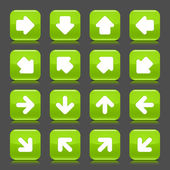 Green glossy web button with white arrow sign. Rounded square shape internet icon with shadow and reflection on dark grey background. This vector illustration saved in 8 eps — Stock Vector