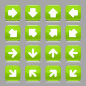 Green glossy web button with white arrow sign. Rounded square shape internet icon with shadow and reflection on light gray background. This vector illustration created and saved in 8 eps — Stock Vector